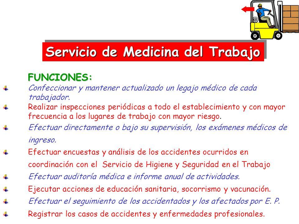 FUNCIONES: Confeccionar y mantener actualizado un legajo médico de cada trabajador. Realizar inspecciones periódicas a todo el establecimiento y con m