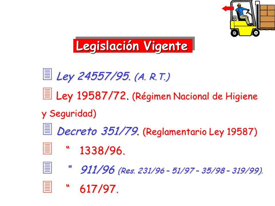 Ley 24557/95. (A. R.T.) Ley 24557/95. (A. R.T.) Ley 19587/72. (Régimen Nacional de Higiene y Seguridad) Ley 19587/72. (Régimen Nacional de Higiene y S