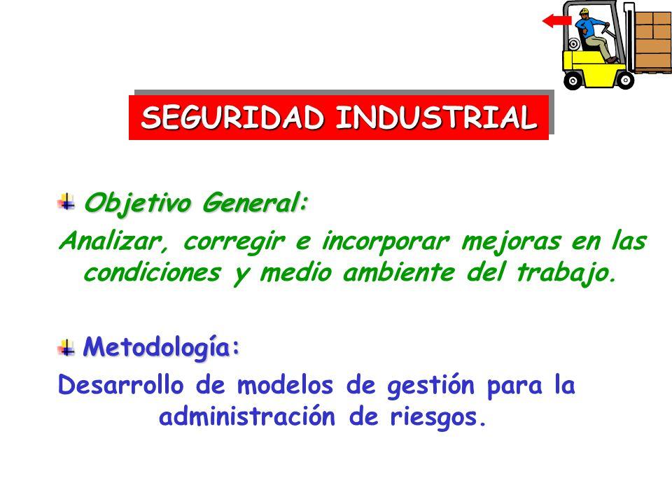 Objetivo General: Analizar, corregir e incorporar mejoras en las condiciones y medio ambiente del trabajo.Metodología: Desarrollo de modelos de gestió