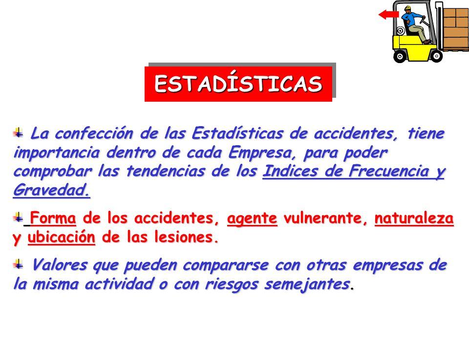 ESTADÍSTICASESTADÍSTICAS La confección de las Estadísticas de accidentes, tiene importancia dentro de cada Empresa, para poder comprobar las tendencia