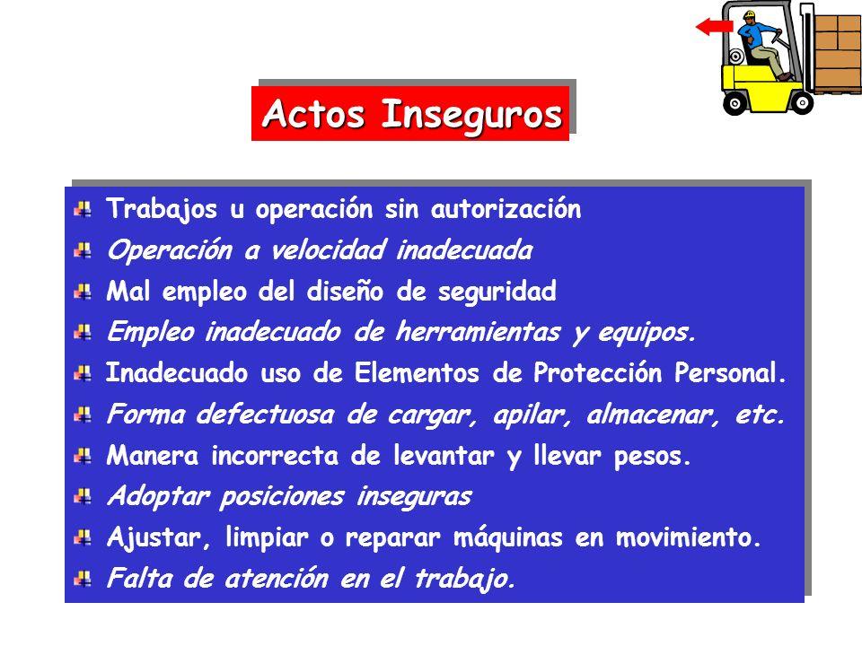 Trabajos u operación sin autorización Operación a velocidad inadecuada Mal empleo del diseño de seguridad Empleo inadecuado de herramientas y equipos.
