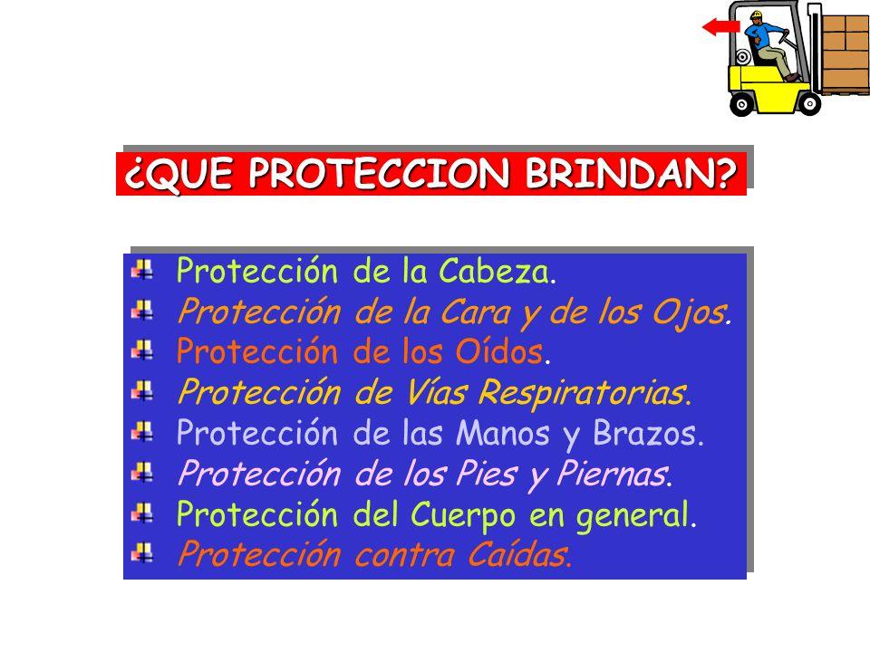 ¿QUE PROTECCION BRINDAN? Protección de la Cabeza. Protección de la Cara y de los Ojos. Protección de los Oídos. Protección de Vías Respiratorias. Prot