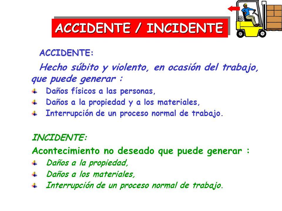 ACCIDENTE: ACCIDENTE: Hecho súbito y violento, en ocasión del trabajo, que puede generar : Daños físicos a las personas, Daños a la propiedad y a los