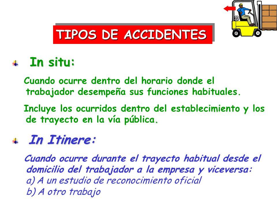 TIPOS DE ACCIDENTES In situ: In situ: Cuando ocurre dentro del horario donde el trabajador desempeña sus funciones habituales.. Incluye los ocurridos