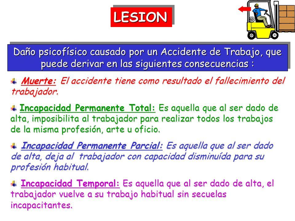 LESIONLESION Daño psicofísico causado por un Accidente de Trabajo, que puede derivar en las siguientes consecuencias : Muerte: El accidente tiene como