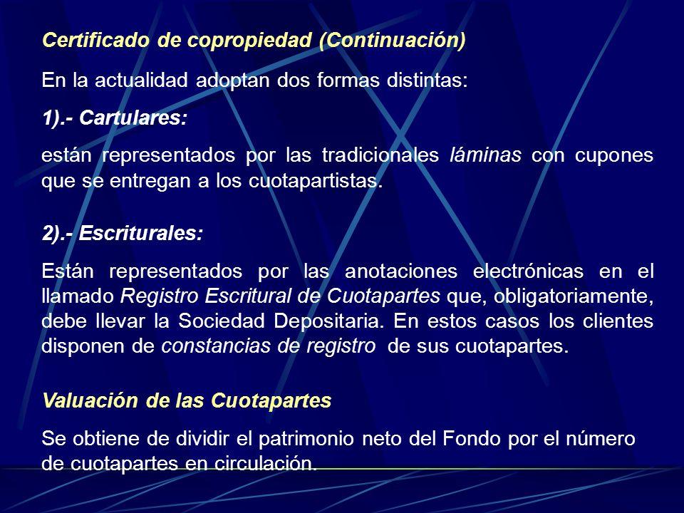 Certificado de copropiedad (Continuación) En la actualidad adoptan dos formas distintas: 1).- Cartulares: están representados por las tradicionales lá