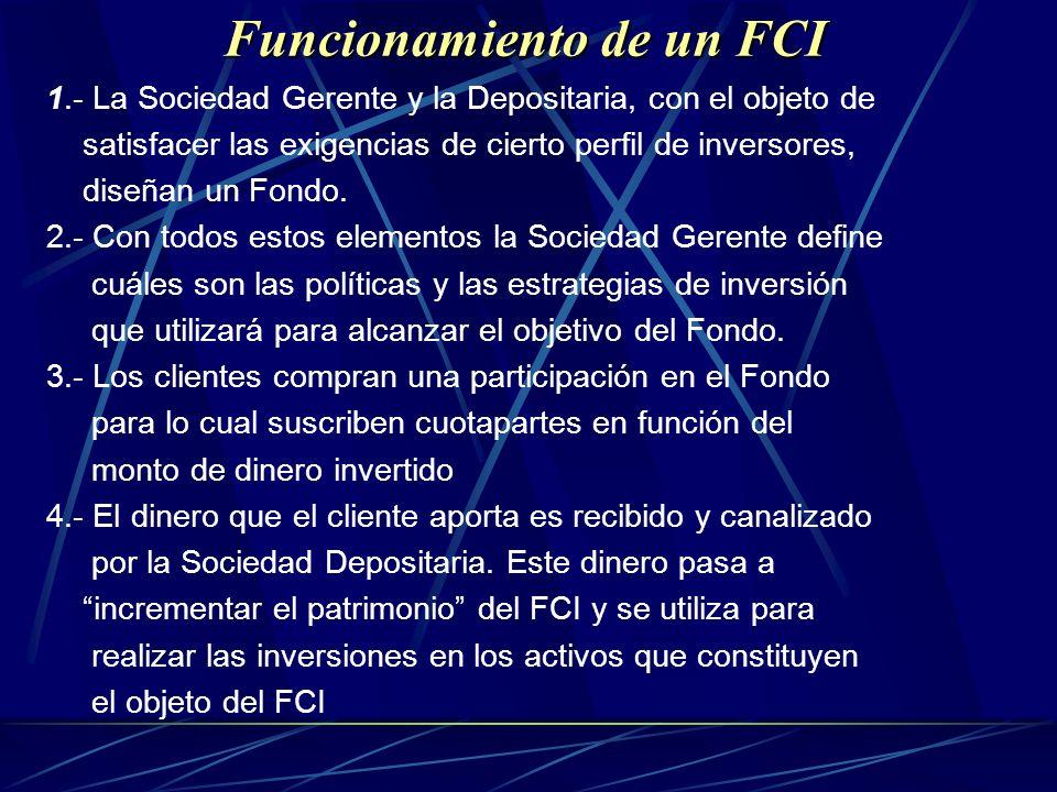 Funcionamiento de un FCI 1.- La Sociedad Gerente y la Depositaria, con el objeto de satisfacer las exigencias de cierto perfil de inversores, diseñan