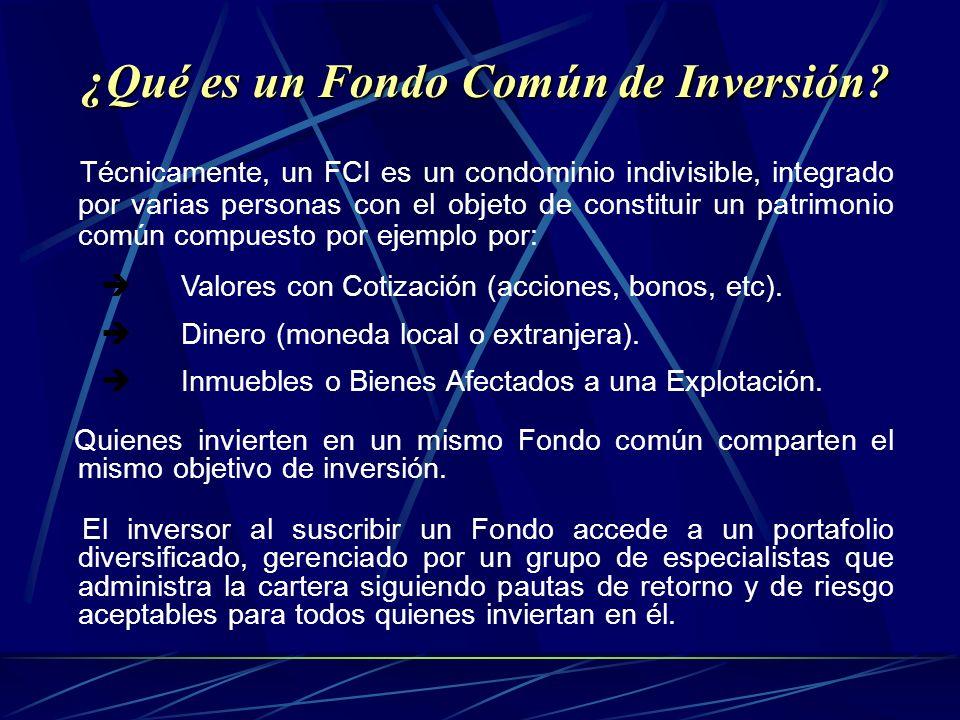 Técnicamente, un FCI es un condominio indivisible, integrado por varias personas con el objeto de constituir un patrimonio común compuesto por ejemplo