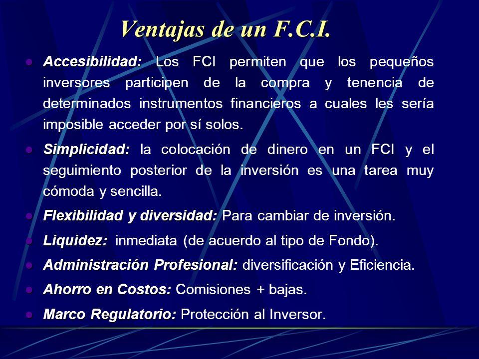 Accesibilidad: Accesibilidad: Los FCI permiten que los pequeños inversores participen de la compra y tenencia de determinados instrumentos financieros