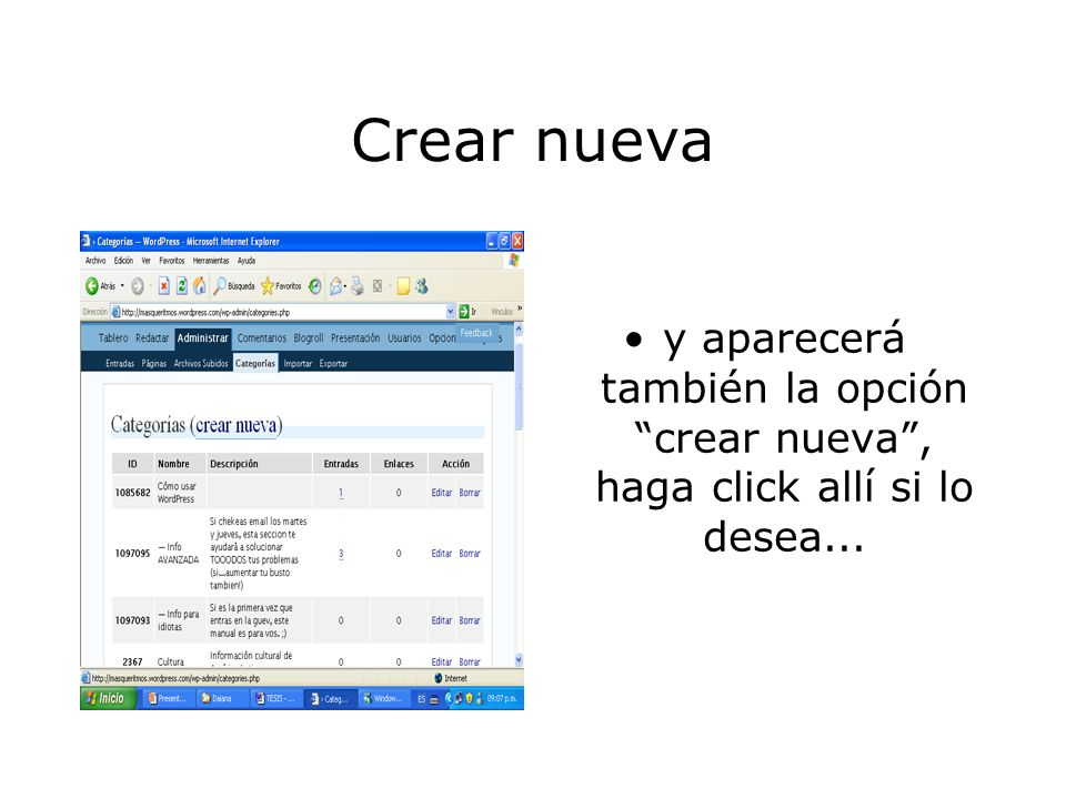 Administrar: categorías Haga click en categorías.