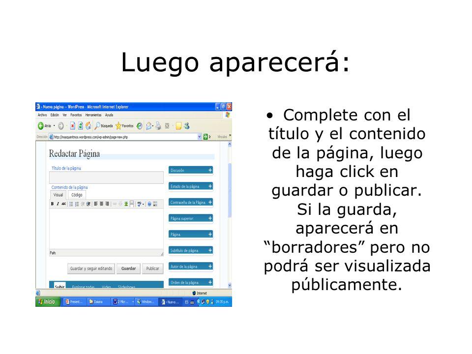 Para realizar una nueva página: Haga click en crear nueva página.