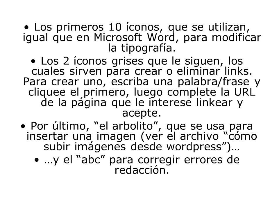 Los primeros 10 íconos, que se utilizan, igual que en Microsoft Word, para modificar la tipografía.