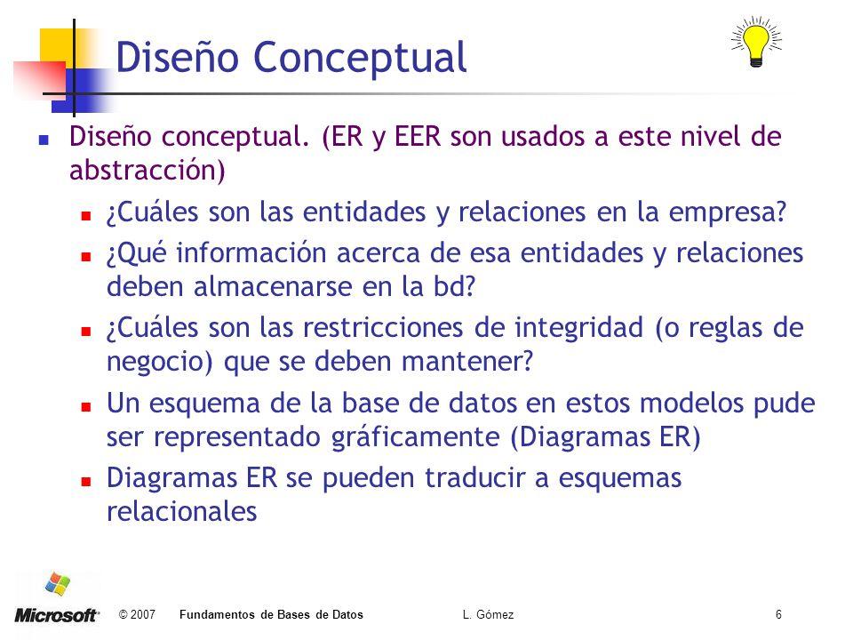 © 2007 Fundamentos de Bases de Datos L. Gómez6 Diseño Conceptual Diseño conceptual. (ER y EER son usados a este nivel de abstracción) ¿Cuáles son las