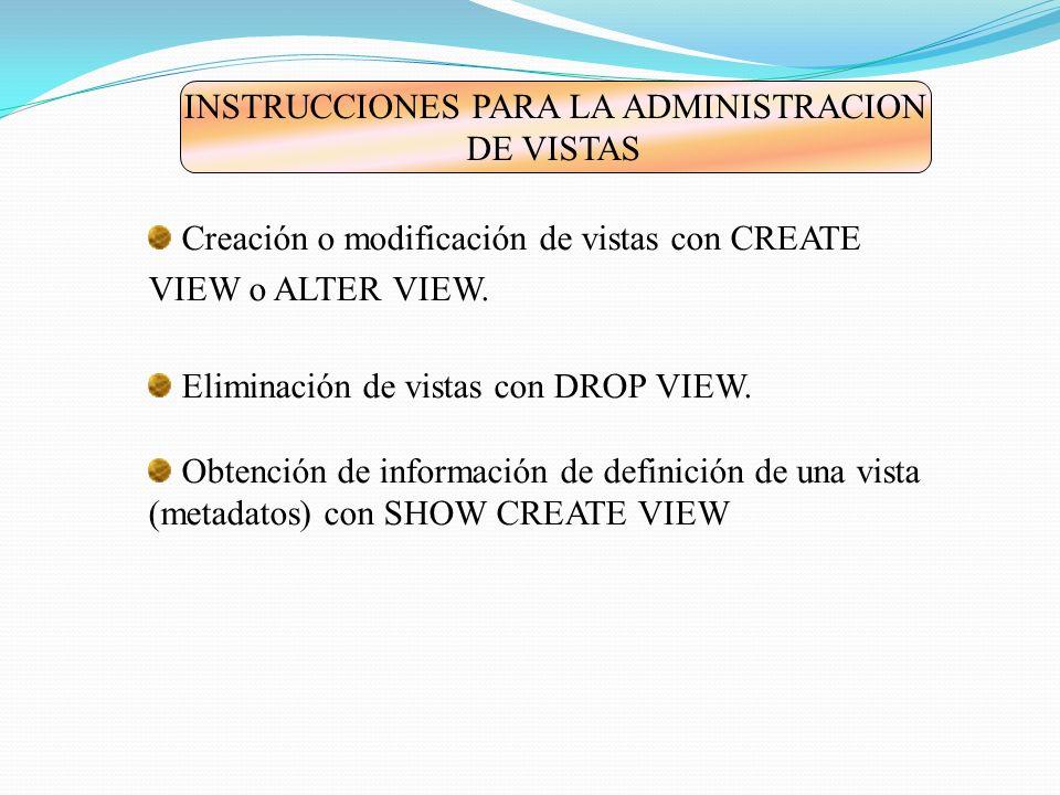 Sintaxis de CREATE VIEW * Toda vista pertenece a una base de datos.