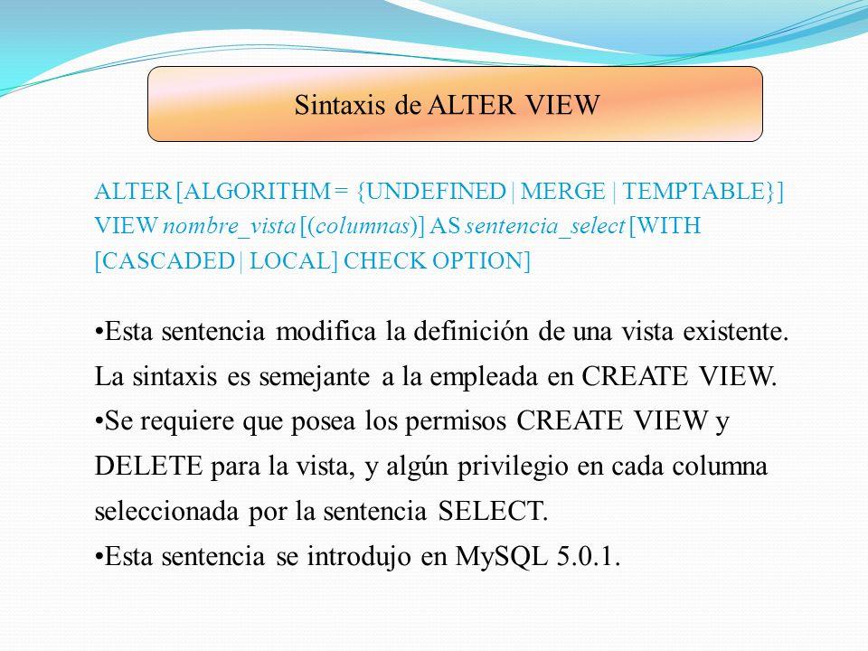 21.3.Sintaxis de DROP VIEW DROP VIEW [IF EXISTS] nombre_vista [, nombre_vista]...