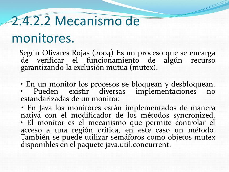 2.4.2.2 Mecanismo de monitores. Según Olivares Rojas (2004) Es un proceso que se encarga de verificar el funcionamiento de algún recurso garantizando