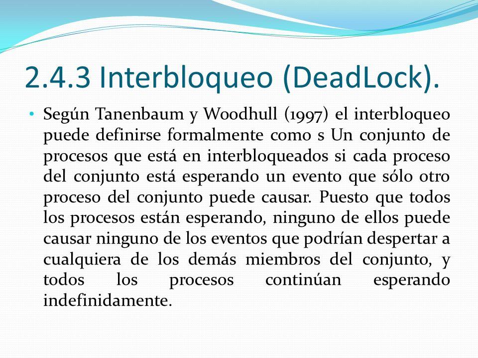 2.4.3 Interbloqueo (DeadLock). Según Tanenbaum y Woodhull (1997) el interbloqueo puede definirse formalmente como s Un conjunto de procesos que está e