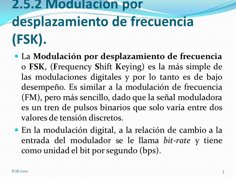 2.5.2 Modulación por desplazamiento de frecuencia (FSK). La Modulación por desplazamiento de frecuencia o FSK, (Frequency Shift Keying) es la más simp