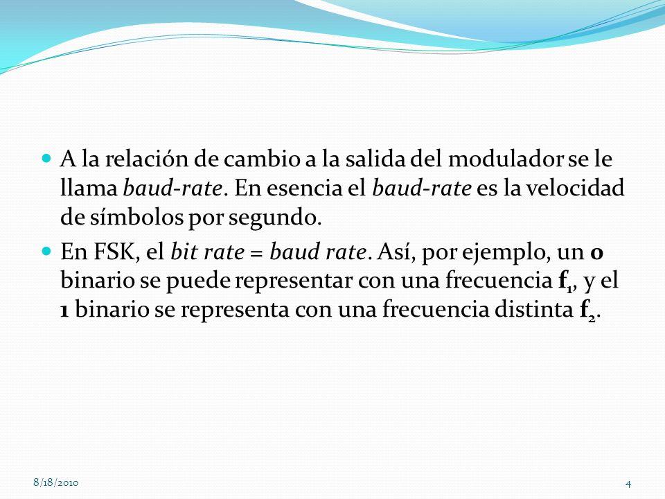 A la relación de cambio a la salida del modulador se le llama baud-rate. En esencia el baud-rate es la velocidad de símbolos por segundo. En FSK, el b