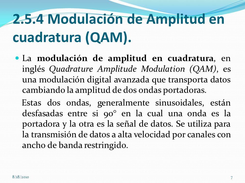 2.5.4 Modulación de Amplitud en cuadratura (QAM). La modulación de amplitud en cuadratura, en inglés Quadrature Amplitude Modulation (QAM), es una mod