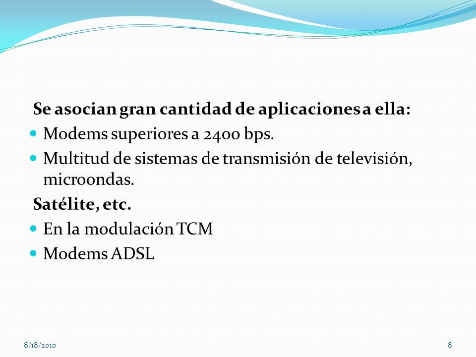 Se asocian gran cantidad de aplicaciones a ella: Modems superiores a 2400 bps. Multitud de sistemas de transmisión de televisión, microondas. Satélite