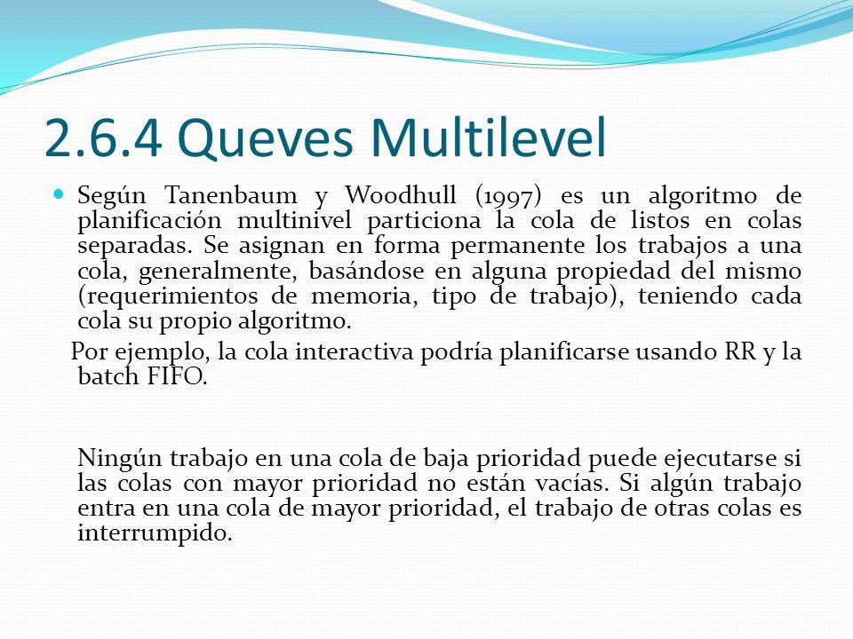 2.6.5 MultiLevel Feedback Queves Según Tanenbaum y Woodhull (1997) En colas multinivel realimentadas los trabajos pueden moverse dentro de distintas colas.