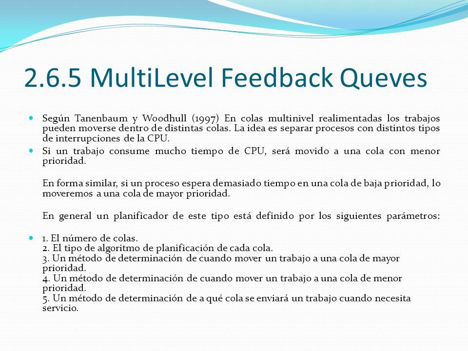2.6.5 MultiLevel Feedback Queves Según Tanenbaum y Woodhull (1997) En colas multinivel realimentadas los trabajos pueden moverse dentro de distintas c