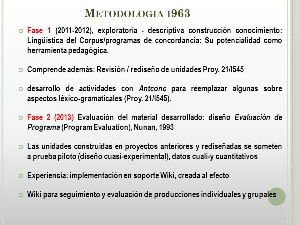 M ETODOLOGIA I 963 Fase 1 (2011-2012), exploratoria - descriptiva construcción conocimiento: Lingüística del Corpus/programas de concordancia: Su potencialidad como herramienta pedagógica.