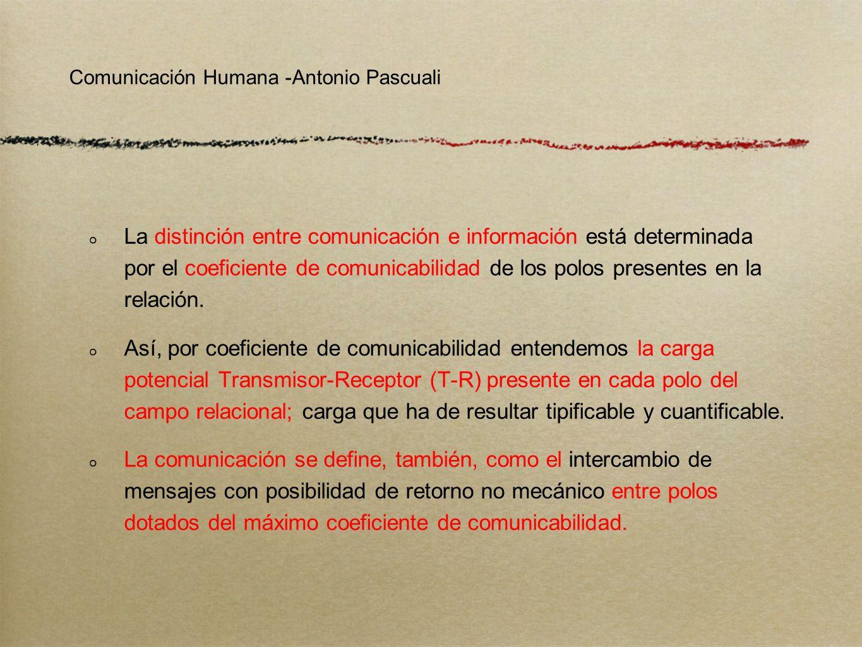 Comunicación Humana -Antonio Pascuali Proponemos reservar el término de información tanto al proceso de vehiculación unilateral del saber entre un transmisor institucionalizado y un receptor-masa, como a sus contenidos, ya sea cual fuere el lenguaje o el medio empleado.