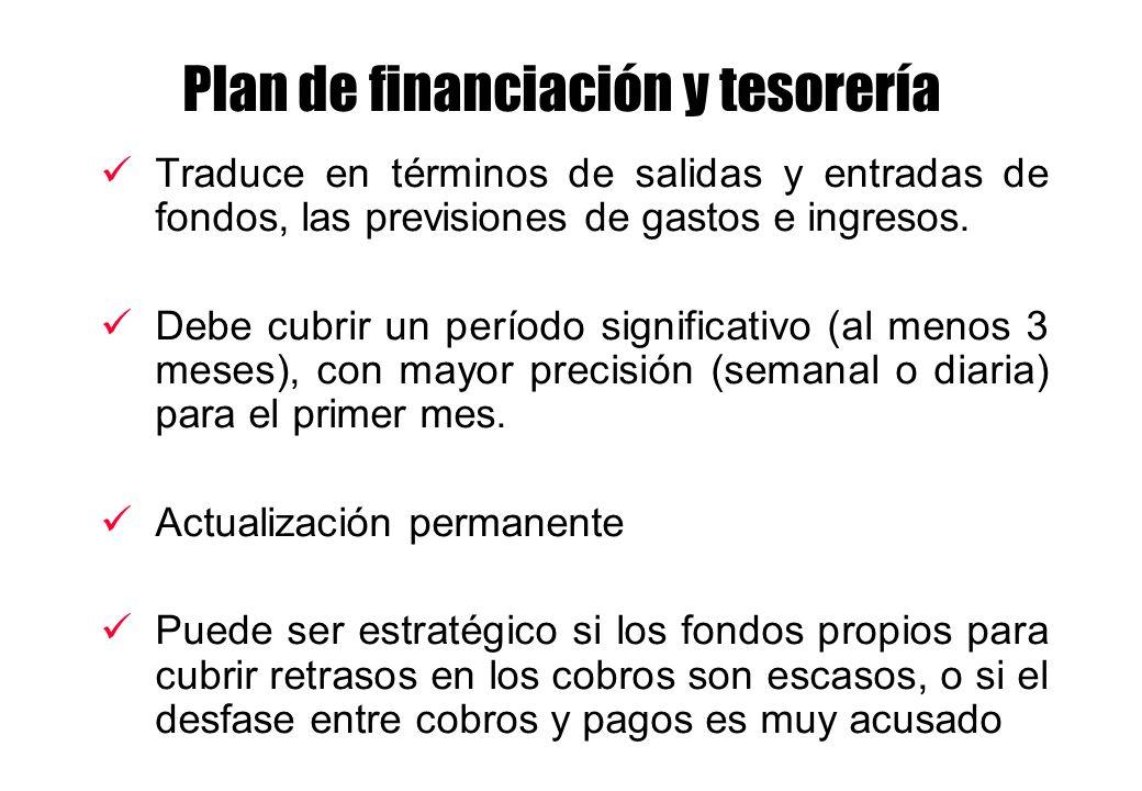 Plan de financiación y tesorería Traduce en términos de salidas y entradas de fondos, las previsiones de gastos e ingresos. Debe cubrir un período sig