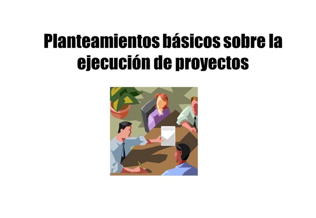 Planteamientos básicos sobre la ejecución de proyectos