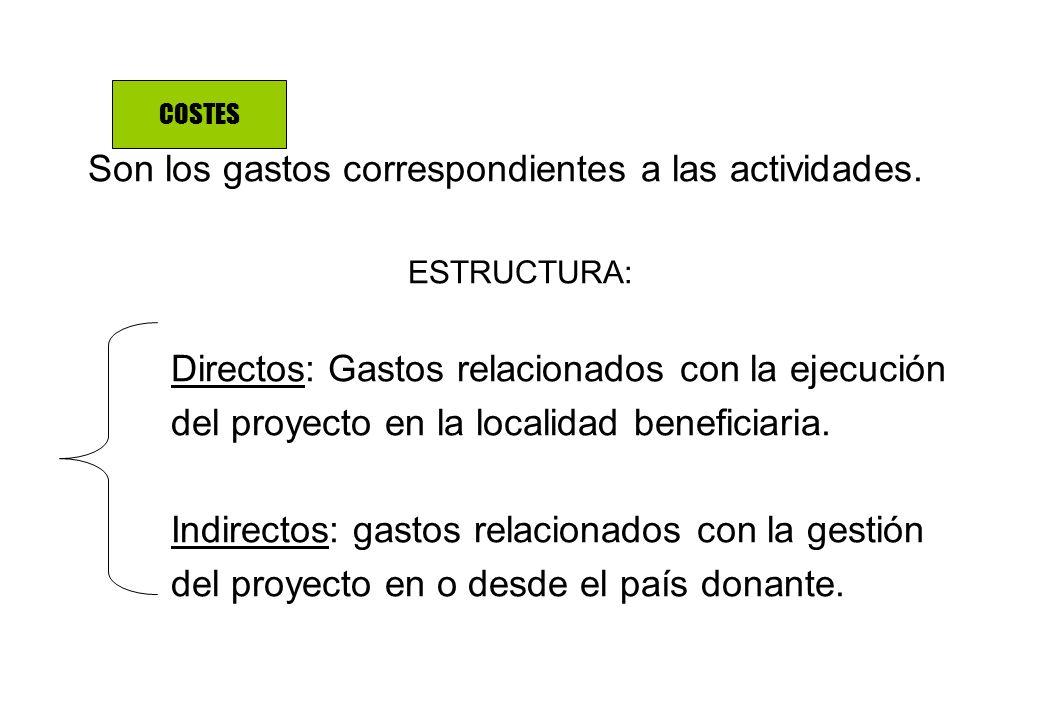 Son los gastos correspondientes a las actividades. ESTRUCTURA: Directos: Gastos relacionados con la ejecución del proyecto en la localidad beneficiari