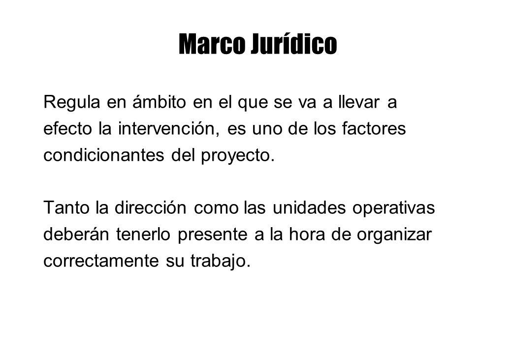 Marco Jurídico Regula en ámbito en el que se va a llevar a efecto la intervención, es uno de los factores condicionantes del proyecto. Tanto la direcc