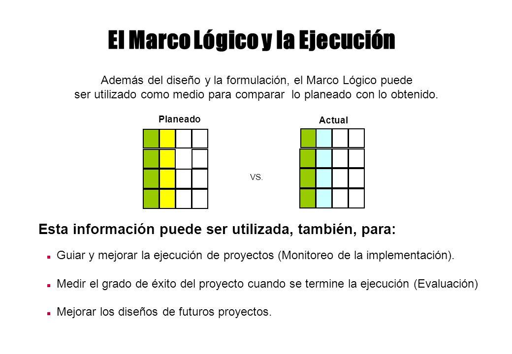 El Marco Lógico y la Ejecución Además del diseño y la formulación, el Marco Lógico puede ser utilizado como medio para comparar lo planeado con lo obt