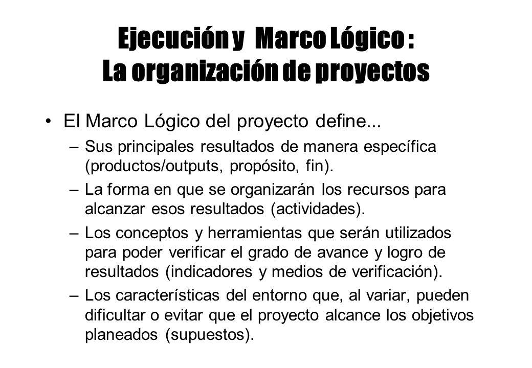 Ejecución y Marco Lógico : La organización de proyectos El Marco Lógico del proyecto define... –Sus principales resultados de manera específica (produ