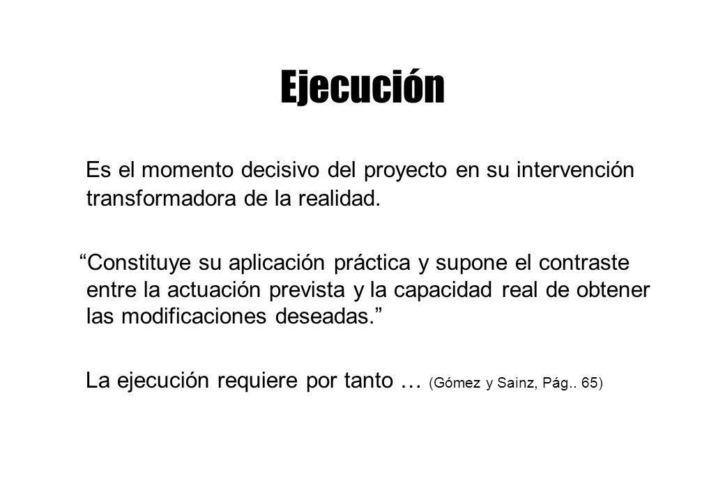 Ejecución Es el momento decisivo del proyecto en su intervención transformadora de la realidad.