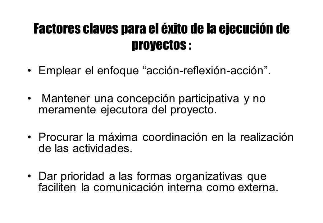 Factores claves para el éxito de la ejecución de proyectos : Emplear el enfoque acción-reflexión-acción. Mantener una concepción participativa y no me