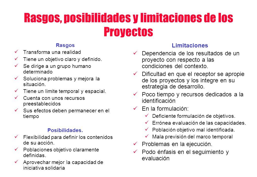 Rasgos, posibilidades y limitaciones de los Proyectos Rasgos Transforma una realidad Tiene un objetivo claro y definido. Se dirige a un grupo humano d