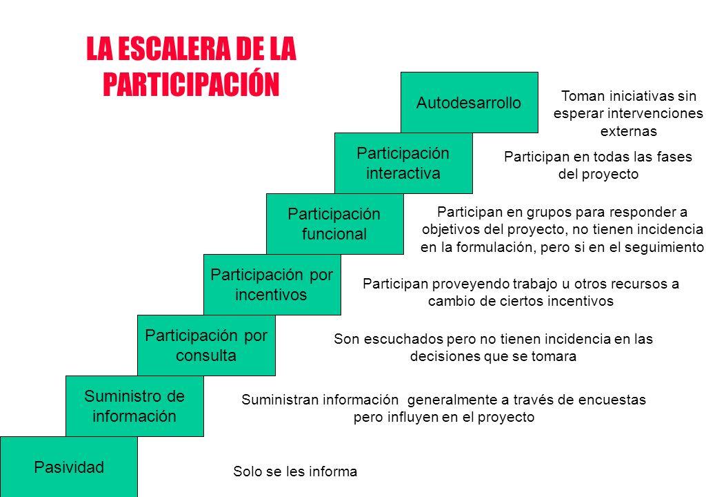 Pasividad Suministro de información Participación por consulta Participación por incentivos Participación funcional Participación interactiva Autodesa
