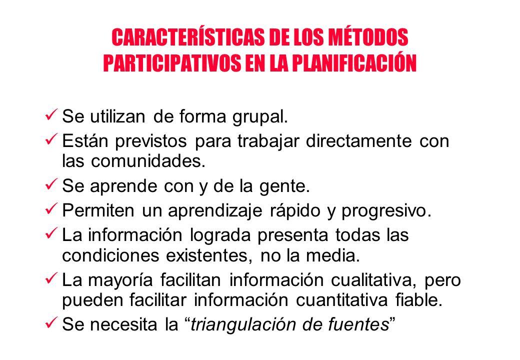 CARACTERÍSTICAS DE LOS MÉTODOS PARTICIPATIVOS EN LA PLANIFICACIÓN Se utilizan de forma grupal. Están previstos para trabajar directamente con las comu