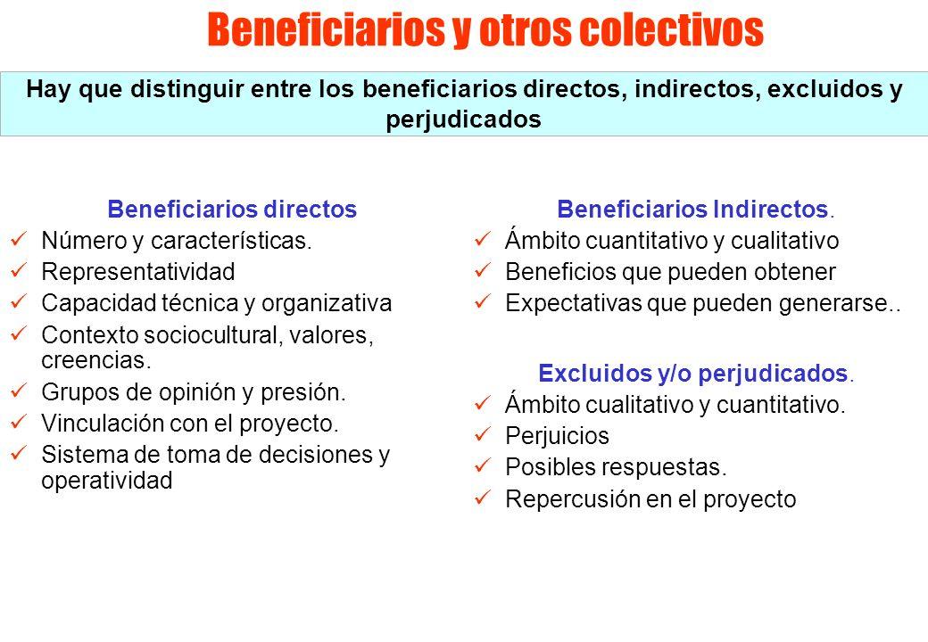 Beneficiarios y otros colectivos Beneficiarios directos Número y características. Representatividad Capacidad técnica y organizativa Contexto sociocul