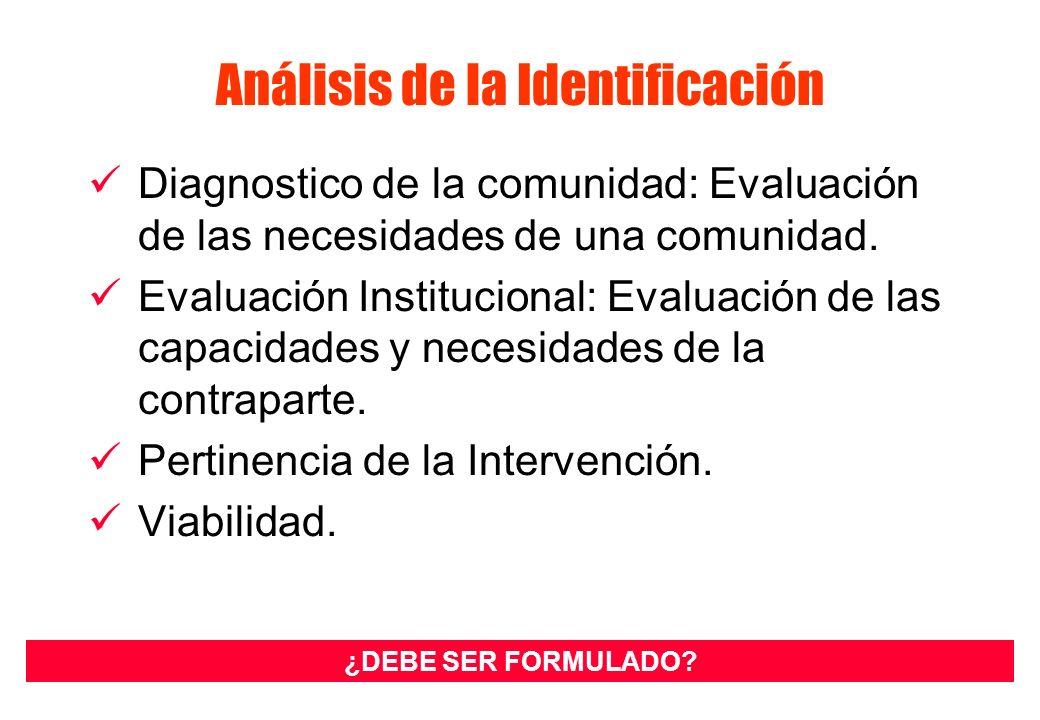Análisis de la Identificación Diagnostico de la comunidad: Evaluación de las necesidades de una comunidad. Evaluación Institucional: Evaluación de las