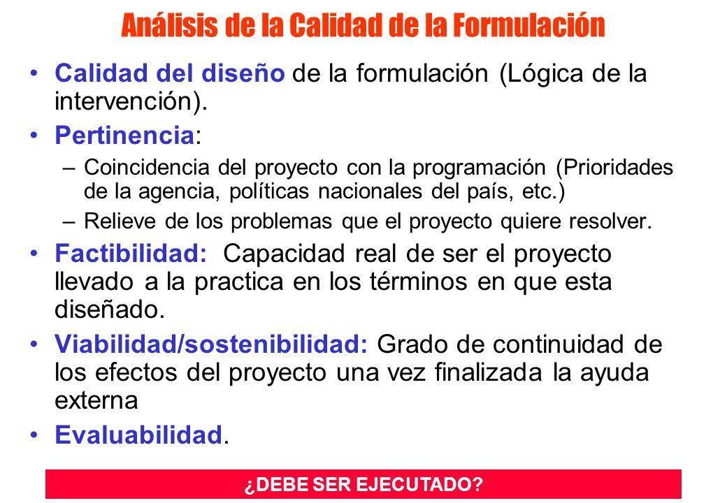 Análisis de la Calidad de la Formulación Calidad del diseño de la formulación (Lógica de la intervención).
