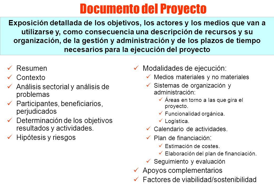 Documento del Proyecto Resumen Contexto Análisis sectorial y análisis de problemas Participantes, beneficiarios, perjudicados Determinación de los obj