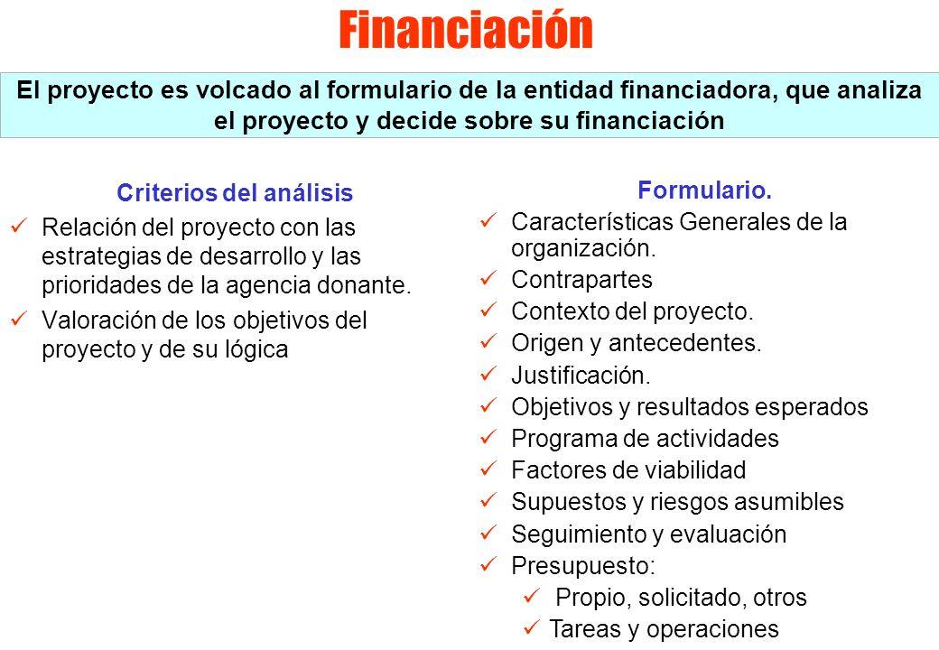 Financiación Criterios del análisis Relación del proyecto con las estrategias de desarrollo y las prioridades de la agencia donante. Valoración de los