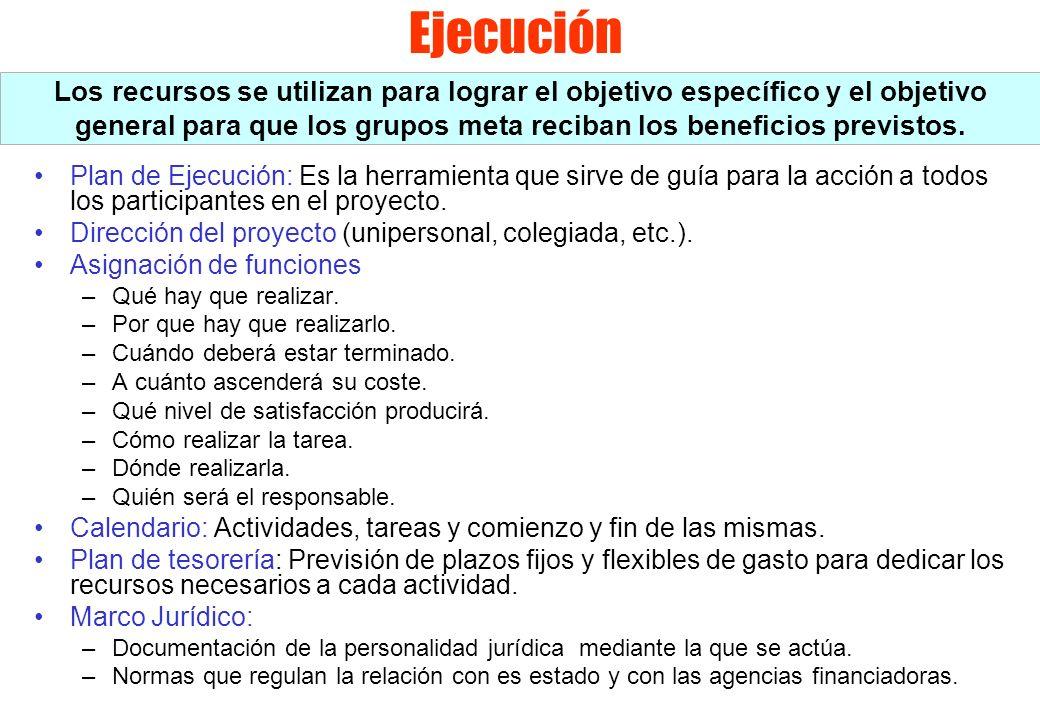 Ejecución Los recursos se utilizan para lograr el objetivo específico y el objetivo general para que los grupos meta reciban los beneficios previstos.