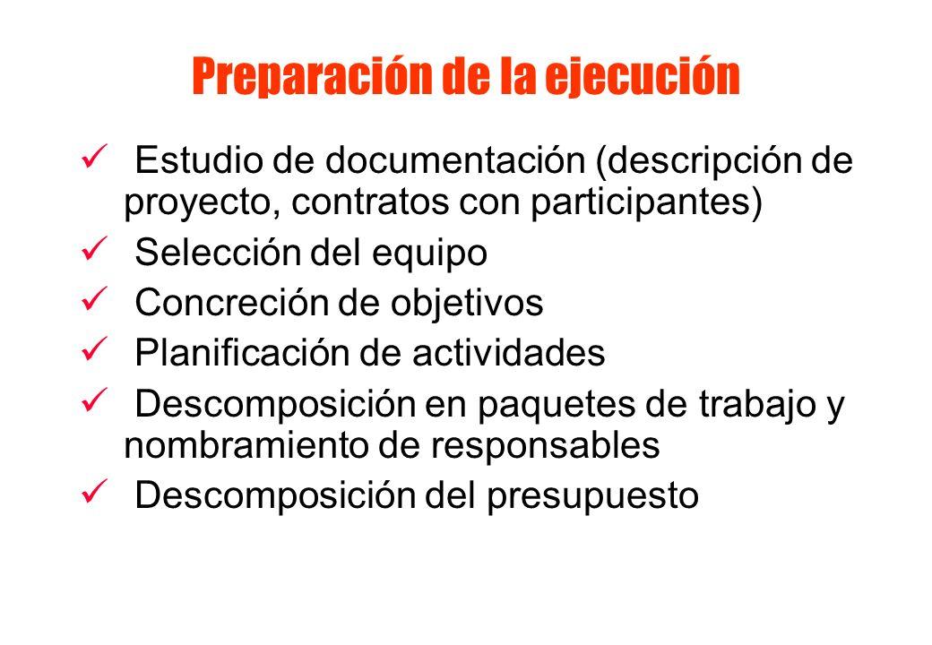 Preparación de la ejecución Estudio de documentación (descripción de proyecto, contratos con participantes) Selección del equipo Concreción de objetiv