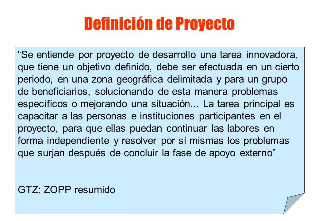 Definiciones de proyectos Un proyecto es un conjunto ordenado de recursos y acciones para obtener un propósito definido.