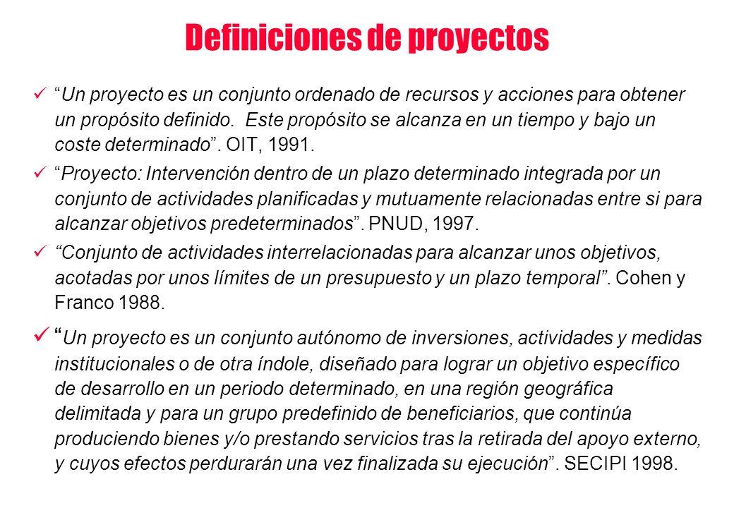 Definiciones de proyectos Un proyecto es un conjunto ordenado de recursos y acciones para obtener un propósito definido. Este propósito se alcanza en