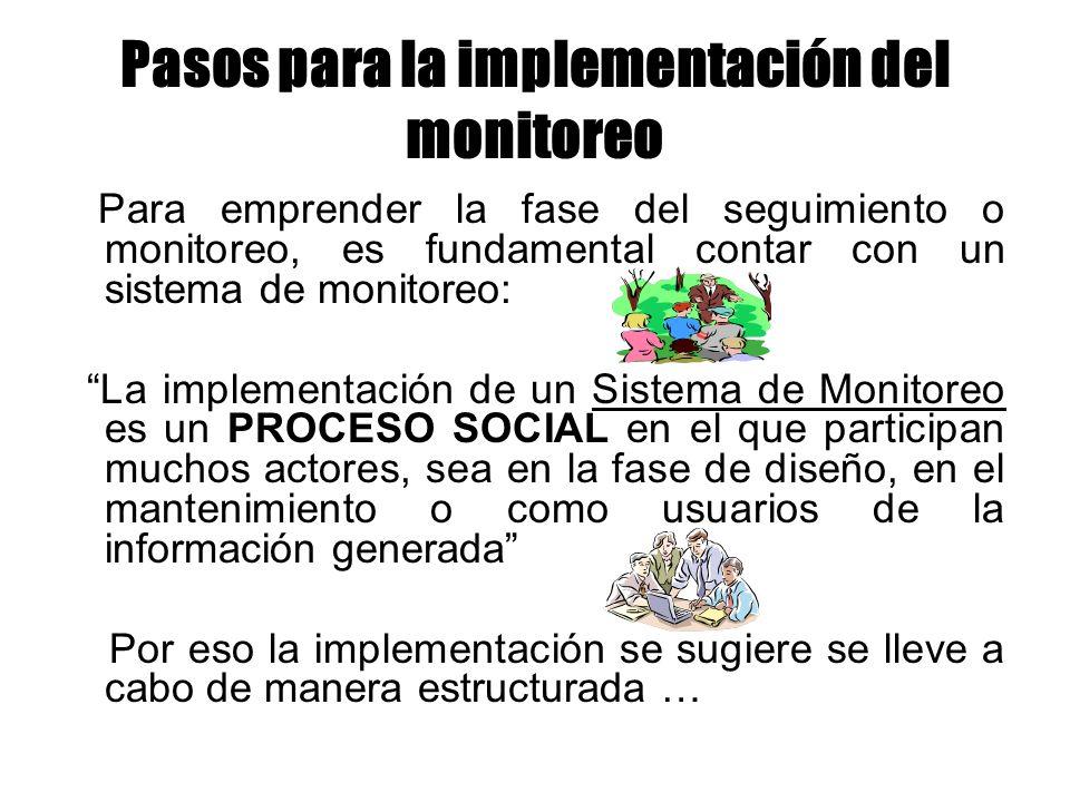 Pasos para la implementación del monitoreo Para emprender la fase del seguimiento o monitoreo, es fundamental contar con un sistema de monitoreo: La i